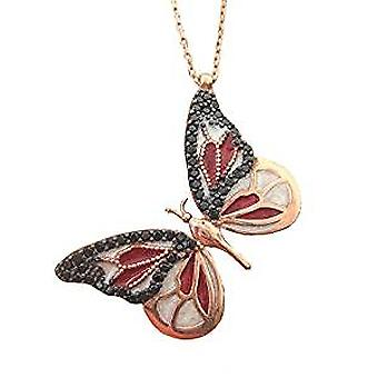 Enamel butterfly necklace black and red, 18ct gold plated
