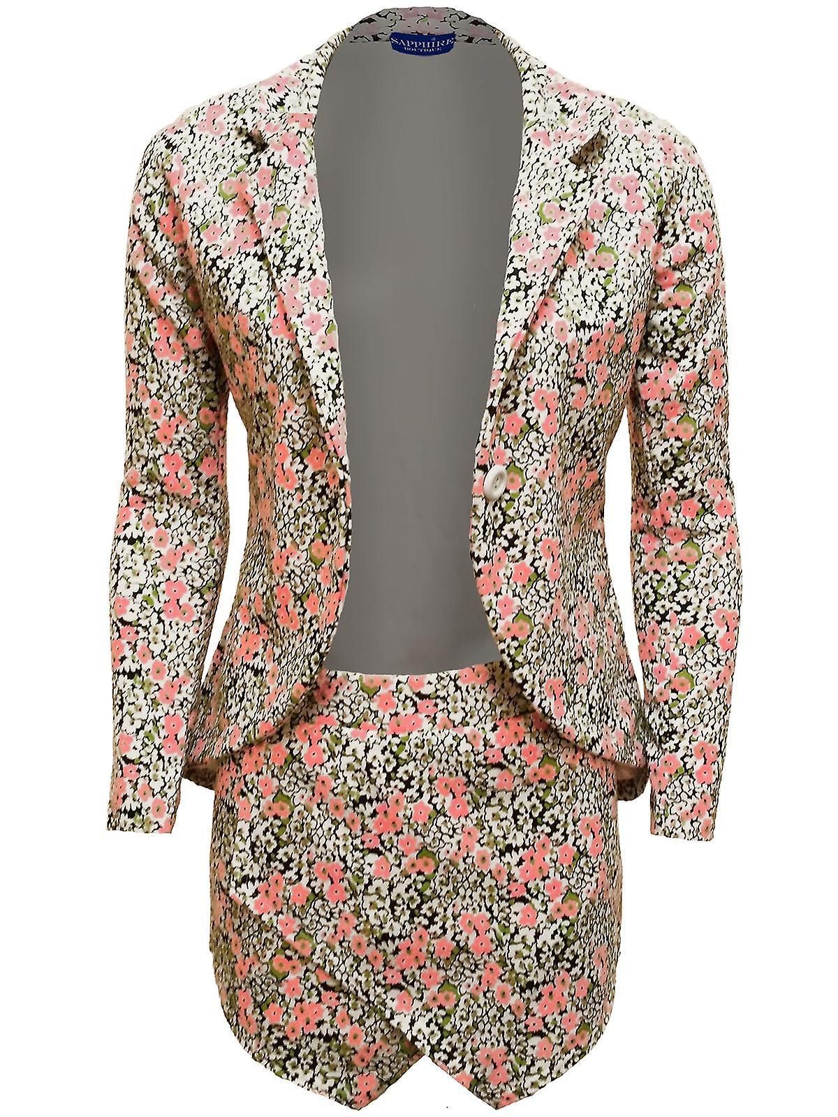 Ladies Sam Faiers Celeb Inspired Floral Print Ladies Two Piece Blazer Short Set