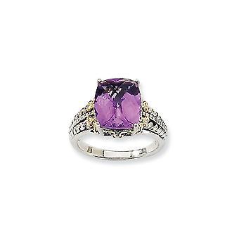 925 Sterling Zilver Met 14k 3.70Amethyst Ring Sieraden Cadeaus voor Vrouwen - Ring Maat: 7 tot 8