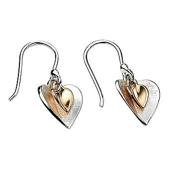 Elemente Silber Doppel Herz Ohrringe - Silber/Gold