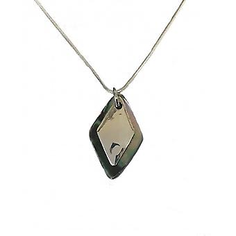 """Cavendish French Silver abalone shell diamond pendant with 16""""-18"""" silver chain"""