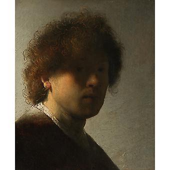 Autorretrato como un joven, Rembrandt van Rijn, 22,5 x 18,6 cm