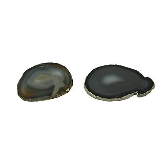 Pair of Polished Brazilian Natural Brown Agate Slice Stone Coasters