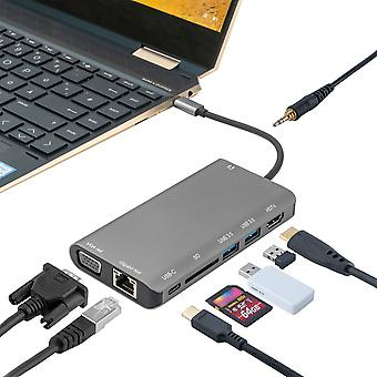 4smarts 8 in 1 USB hub type C type C on Ethernet HDMI 3 x USB 3.0 and card reader grey