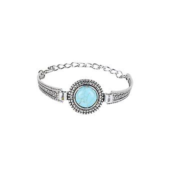 Lovemystyle Silver Metal Bracelet With Turquoise Stone