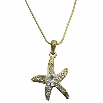 Gold Pendant Star Flower Embedded w/ Cubic Zircon Necklace