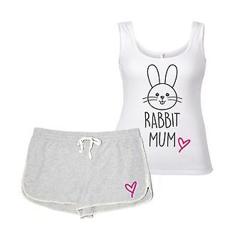 أمي أرنب رمادي وأبيض منامه