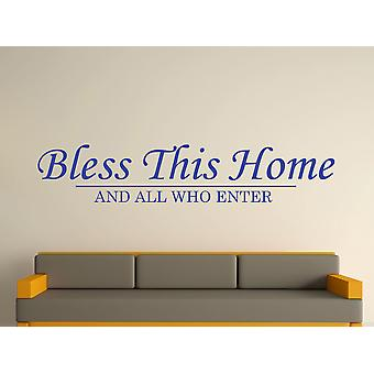 Bénissez cette maison d'art de mur autocollant - bleu brillant