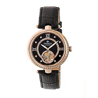 Empress Stella Automatic Semi-Skeleton MOP Leather-Band Watch - Black/Rose Gold
