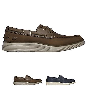 Mens Skechers Status 2.0 Former Oiled Leather Memory Foam Moccasin Shoes