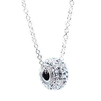 Ah! Jewellery Pave Bead Clear Crystals From Swarovski Necklace, Sterling Silver