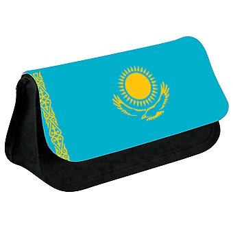 Kazakhstan Flag Printed Design Pencil Case for Stationary/Cosmetic - 0087 (Black) by i-Tronixs