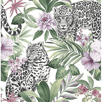 Leopard Animal Print Floral Wallpaper Tropical Flowers Pink Green White Black