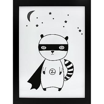 Grindstore Superhero Raccoon lærred print