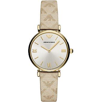 Emporio Armani Ar11127 Cream Leather Stainless Steel Ladies Watch