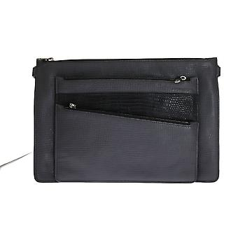 Gray lizard leather wristlet messenger bag
