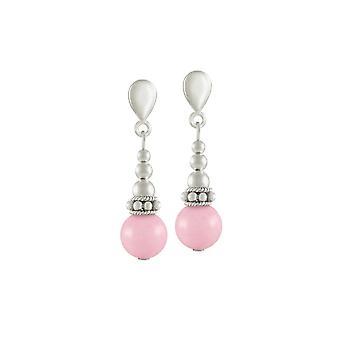 Éternelle Collection Bella lumière rose Jade fermoir goutte Clip boucles d'oreilles