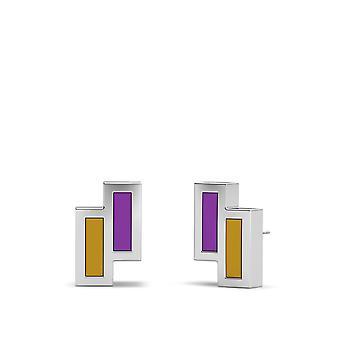 Die lila Herz Foundation Sterling Silber asymmetrische Emaille Ohrstecker in lila und Gold