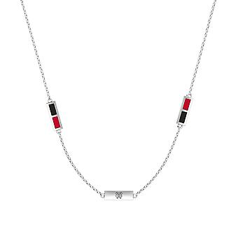 Chicago Blackhawks Sterling Silver Engraved Triple Station In Necklace Black and Red