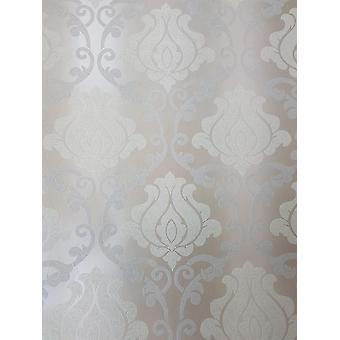 Beige Silver Damask Glitter Wallpaper Sparkle Shimmer Textured Vinyl Washable