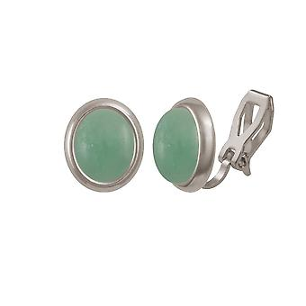 Eternal Collection Minuet Chinese Amazonite Silver Tone Stud Clip On Earrings