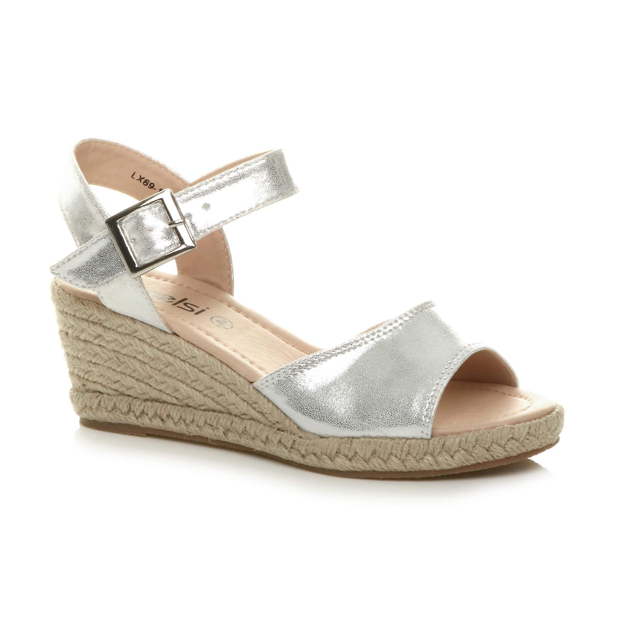 Ajvani Womens mid heel summer buckle espadrille platform wedge sandals HWaPj