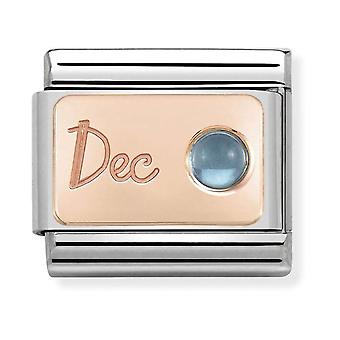 Nomination Classic December Birthstone Steel, Light Blue Topaz and 9k Rose Gold Link Charm 430508/12