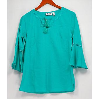Denim & Co. Kobiety's Top XXS Crinkle Gauze Bell Sleeve Blue A306777