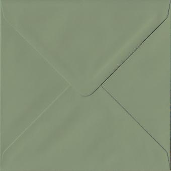 Vintage Green Gummed 155mm Square Coloured Green Envelopes. 135gsm GF Smith Colorplan Paper. 155mm x 155mm. Banker Style Envelope.