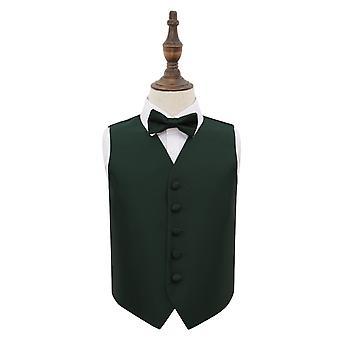 Gilet de mariage cocher solide vert foncé & ensemble de noeud de cravate pour les garçons