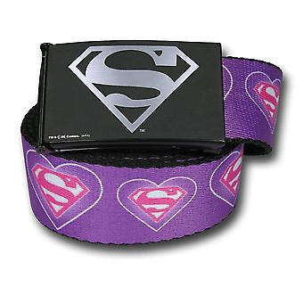 Supergirl Symbol & Hearts Adult Web Belt
