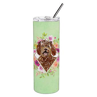 Labradoodle Green Flowers Double Walled Stainless Steel 20 oz Skinny Tumbler