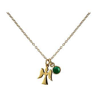 Gemshine colar pingente anjo guardião anjo 925 prata ou ouro chapeado Esmeralda