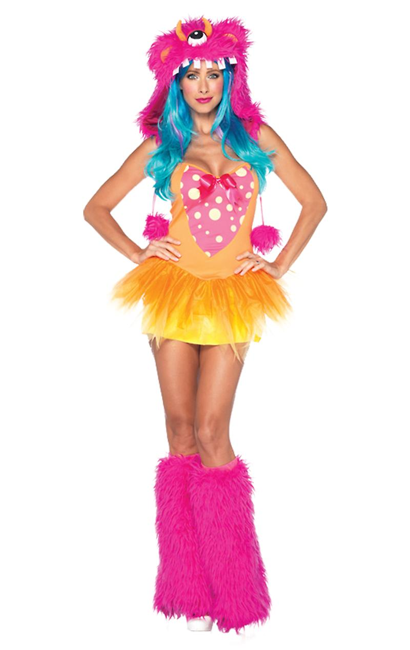 Womens Shaggy Shelly Neon Colourful Monster Cosplay Fancy Dress Costume