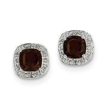 925 Sterling Zilver gepolijst Rhodium verguld Rhodium Smokey Quartz en Diamond Post Oorbellen Sieraden Geschenken voor vrouwen
