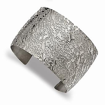 Stainless Steel Polished Textured 4.50mm Cuff Stackable Bangle Bracelet Jewelry Gifts for Women