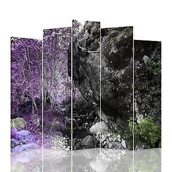 Dekorative Zimmerteiler, 5 Platten, Leinwand, Boulder im Wald