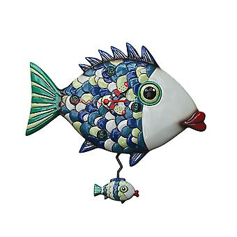 Allen Designs Fishy Lips Colorful Fish Pendulum Wall Clock