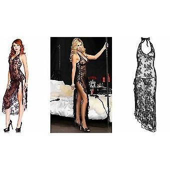 Leg Avenue [ UK 8 - 14 ] Lingerie Black Lace Slit Side Gown With Matching G-String