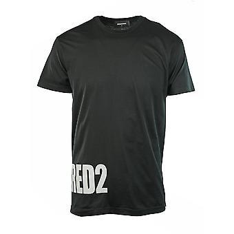 T-shirt nera con logo laterale grande Dsquared2