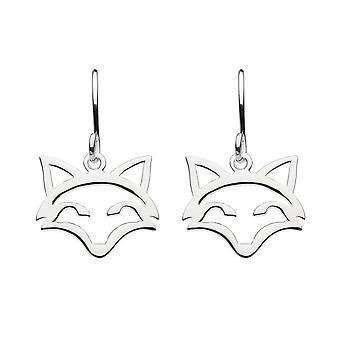 Dew Sterling Silver Stay Clever Fox Head Outline Drop Earrings 6033HP024