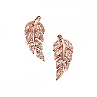 Elements Silver Elements Rose Gold Plate Clear CZ Leaf Stud Earrings E5092C