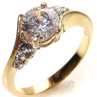 Ah! Schmuck elegante Gold gefüllt Versprechen simuliert Diamant Verlobungsring