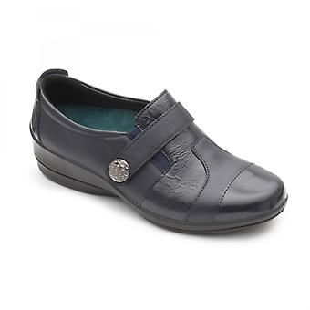 Padders Endure Ladies Leather Wide (e/2e) Shoes Navy