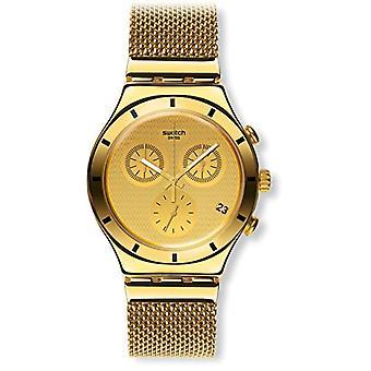 Swatch Unisex Quartz kronograf klocka med rostfritt stål band YCG410GB