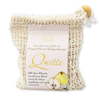 Florex Le savon au lait de brebis agité à froid - coing - dans un sac de lavage sisal nourrissant nourrissant 150 g