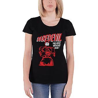 Daredevil T Shirt Logo new Official Marvel Comics Womens Skinny Fit Black