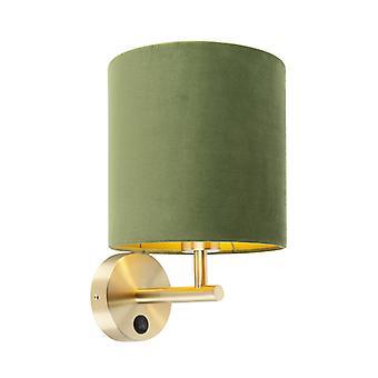 QAZQA Tight wall lamp gold with green velvet shade - Matt