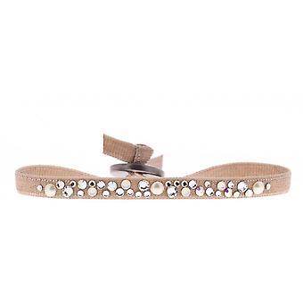 Bracelet interchangeable A36669 - fabric Beige woman Swarovski crystals Bracelet