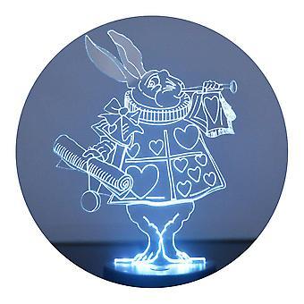 Alice in Wonderland hvit kanin farge skiftende LED akryl lys